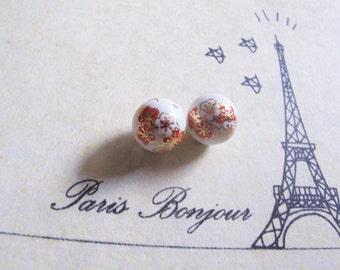 2 pcs, Japanese Tensha Oriental Sakura Round bead