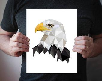 B66 - Bald Eagle  - Geometric bird art print