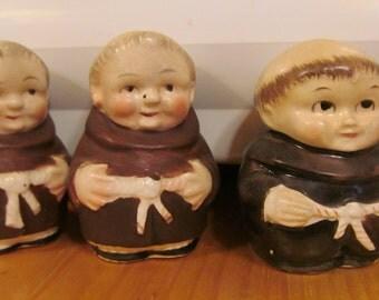 Friar Tuck and Little John Monk Salt & Pepper Shakers Friar Tuck Monk Set Brother Monk Salt and Pepper set
