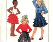 Simplicity 8249 Size 10 Waist 24.5 Girls Skirt Pattern Gathered Tiers Flounces Ruffles Bubble Hem Waistband Back Zip 1980s Uncut