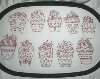 Cupcake Flowers Redwork Collection