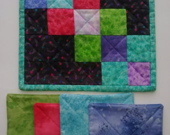 COASTERS 4 MUG MAT Beautiful Array of Colors All Reversible 100% Cotton Handmade