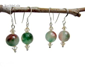 green and red agate earrings - christmas earrings - swarovski crystal - sterling silver ear hooks - handmade by RockinLola