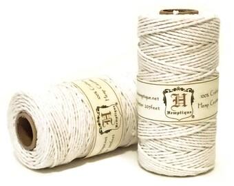 Hemp Cord, White, 1.8mm Macrame Cord, Packaging String, Hemp Craft Cord, Beading Cord, 48lb Hemp Twine, Thick Hemp