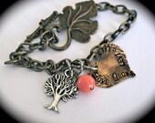 Family bracelet/love grows/brass chain bracelet/customized bracelet/personalized bracelet/hand stamped jewelry