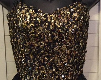Vintage Gold Sequin & Black Lace Bustier~Easy On -Easy Off velcro closure~High Quality Costume