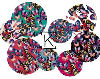 INSTANT DOWNLOAD Digital collage butterfly for bottle cap, pendant, scrapbooking, mirror, badge