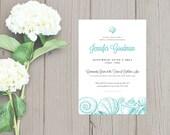 Printable Bridal Shower Invitation - Beach Shells