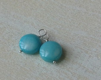Interchangeable Earring Dangles - Aqua Blue Mother-of-Pearl and Sterling Silver