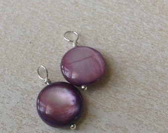 Interchangeable Earring Dangles - Violet Purple Mother-of-Pearl and Sterling Silver