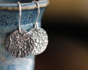 Sterling Silver Earrings, Botanical Embossed, Dangle Earrings, PMC Earrings, Floral, Disc Earrings