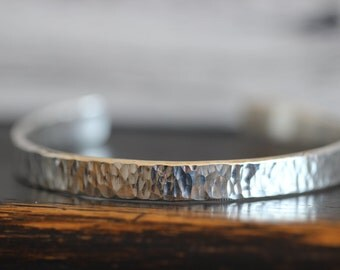 Sterling Silver Cuff Bracelet, Hammered, Textured, Bark, Wood Grain, Polished silver, 8mm Wide Cuff, Heavy gauge
