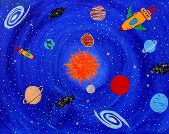 Space Art Print, Boys Space Print, Outer Space Art, Boys room decor