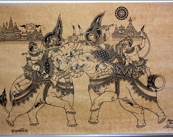 Thai traditional art of War elephant by printing on sepia paper.