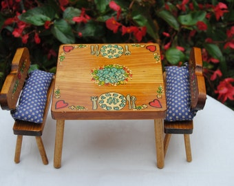 Vintage Doll Furniture - Handmade, Wood Table and 2 Benches, Upholstered, Painted - 1983 - Amazing!