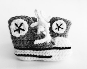 Gray crochet baby converse booties, baby converse slippers, custom converse, shower gift