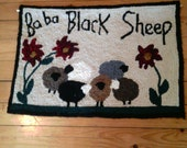 Ba Ba Black Sheep Wall Hanging / Hooked Wool