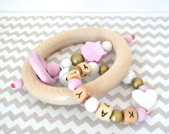Personalized wooden teether, wood toy, baby rattle, rattle teether, custom gift, beaded toy, baby toy, personalized baby gift, gold and pink