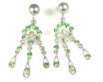Peridot Green Rhinestone Dangle Earrings Marked Alice