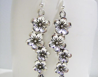 Silver flower charm earrings  - flower metal earrings - flower jewelry - charm earrings - flower themed gift - flower charms