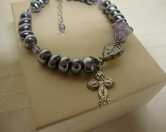 Grey and Purple Christian Bracelet