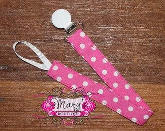 Pink and White Polka Dot Pacifier Clip