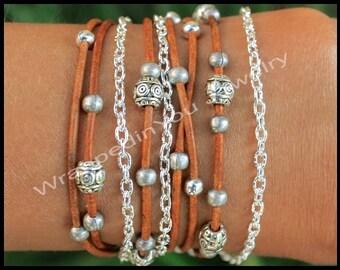 Silver Tibetan Style Bohemian LEATHER Wrap Chain Bracelet - Boho Beaded Leather Rope Triple Wrap w/ Extension - Pick SIZE / COLOR - Usa  785