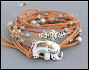Lucky ELEPHANT Leather Boho Bracelet - Adjustable Multi Wrap Leather Elephant Button Bracelet - Bohemian Bracelet - COLOR / SIZE - USa 48 bb