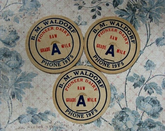 B M Waldorf Pioneer Dairy Milk Bottle Caps