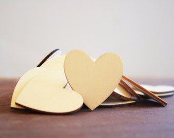 10 Wooden Hearts 40mm / Heart Hang Tags / Mini Wood Hearts / Timber Hearts