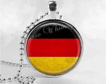 GERMANY FLAG Necklace, Germany Necklace, Germany Flag Pendant, Glass Photo Art Necklace, Germany, German Jewelry, German Flag