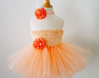 Chenille Top Peach Easter Tutu Dress - baby