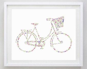 Bicycle Watercolor Print  - Girl's Nursery Art - Baby Girl Gift - Bicycle Art - Beach Cruiser Art - Floral Bike Painting