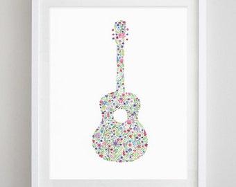 Guitar Floral Watercolor Print