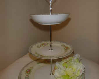 White flower 3 Tiered Dessert stand