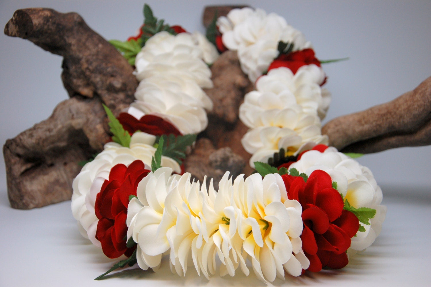 White and Red Silk Plumeria Flower Lei with Fern Graduation