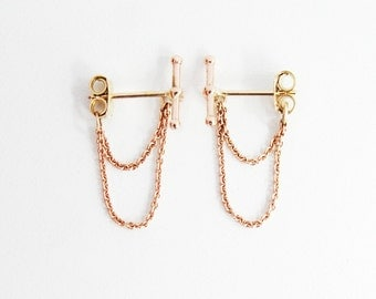 Rose gold 14k bar and chains