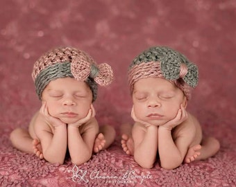 Newborn Twin Girls Coordinating Beanie Set