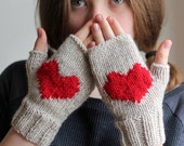 CHRISTMAS GIFT, Love Gift, Heart gloves, gloves, handmade gloves, fingerless gloves, hat, cuff, scarf, Express Shipping.