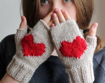 HEART GLOVES... Wool gloves, red  gloves, handmade gloves, hat, cuff, scarf. Fast shipping!