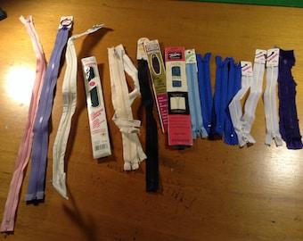 Zippers - Lot of 17 Plastic