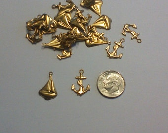 10 Brass Charms boat and anchor, nautical