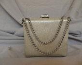 SALE!!!Vintage Silver Box Evening Handbag