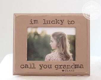 Grandma Gift Picture Frame 'I'm Lucky to Call You Grandma' Personalized Frame from Grandkids Grandchildren 5x7