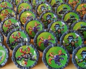 24 SKYLANDERS swap force giants trap team Cupcake party favor topper rings cake Great boy birthday party idea! game gamer
