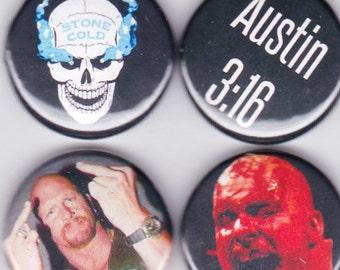Stone Cold Steve Austin - 4 Button Set