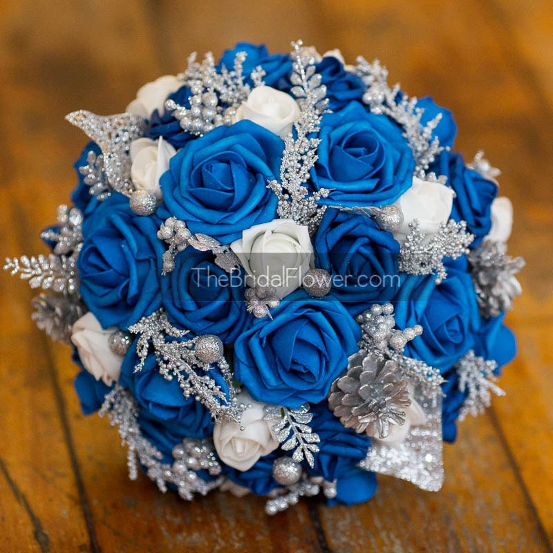 Royal Blue Silver And White Wedding Bouquets : Royal blue silver winter wedding bouquet with by