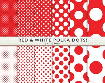 Digital Paper - Red and White Polka Dots  -  Scrapbooking  Instant Download & Printable G7284