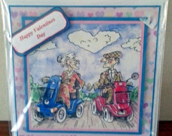 Handmade 6inch square OAPComical Style Valentines Card