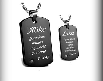 Dog Tags, Black Dog Tag, Personalized Dog Tag, High Polished Black His And Hers Dog Tag Necklace Set, Custom Engraved Free, Couples Necklace